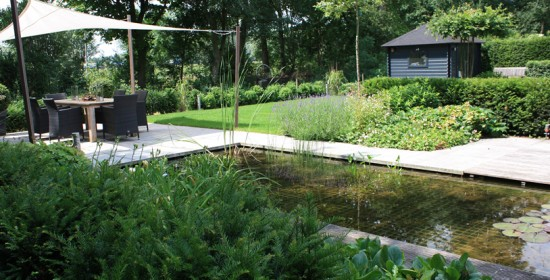 aan de rand van Arnhem, strakke onderhoudsvriendelijke tuin